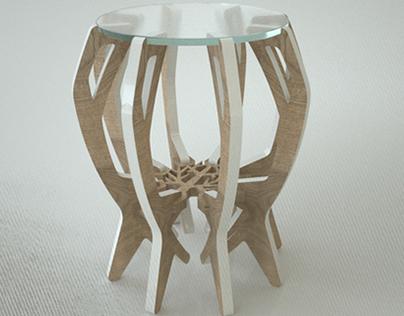 Industrial Furniture, Oak Branch on glass.