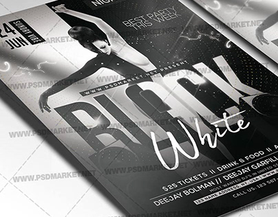 Black White Party Flyer - PSD Template