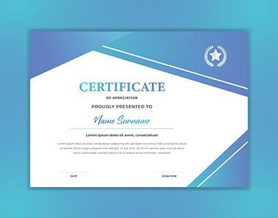 Blue certificate template with luxury