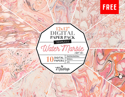 (Free) 10 Seamless Water Marble Textures