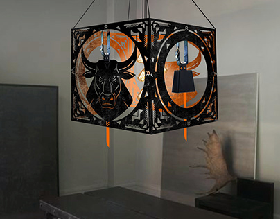 """Lamps """"Bull"""" and bell """", loft style"""