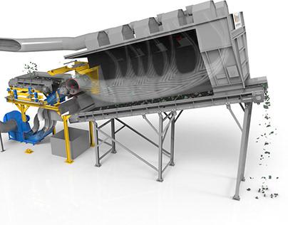 Animazione 3D di un separatore di rifiuti