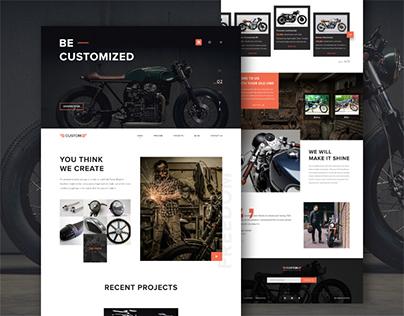 Custom motorcycle workshop landing page
