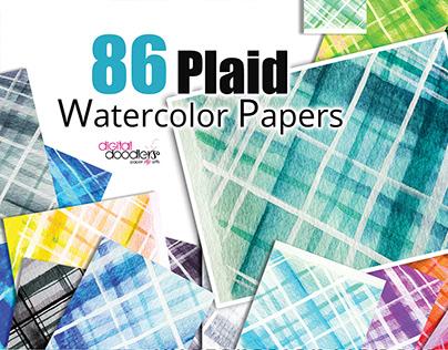 Watercolor Plaid Digital Paper