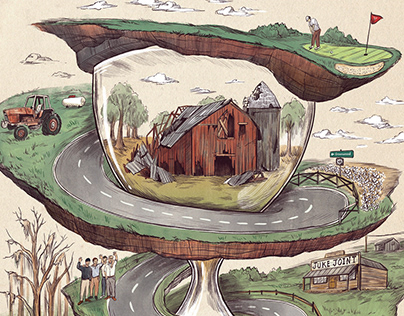 """""""Memory Highway"""" Garden & Gun Editorial Illustration"""