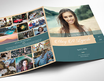 Remember Teal Cream Funeral Program Word Publisher