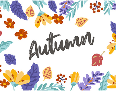 vector pattern with autumn leaves and flowers.