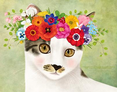 A cat wearing a flower crown_No.2