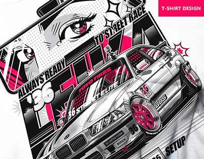 BMW E36 «Street race» t-shirt design