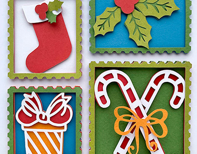 Christmas Paper Cut Post Stamps
