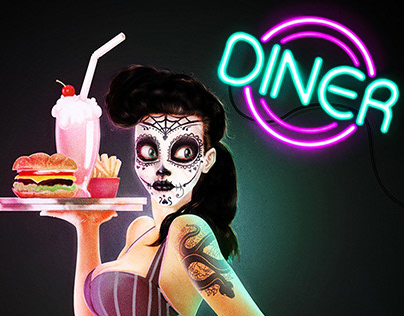 Day of the Dead Diner Waitress