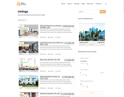Listings Right Sidebar - Real Estate WordPress Theme