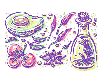 Illustrations for a calendar with simple recipes