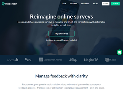 Responster Manage feedback survey webdesign inspiration