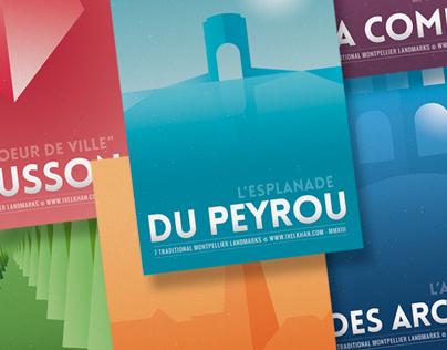 Minimal Posters Design : 7 Montpellier Landmarks