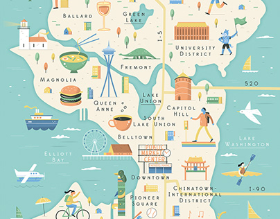 Visit Seattle Illustrated Map