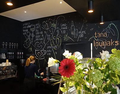 Menu and wall-art at cafe AIT