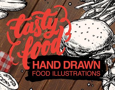 """Tasty food"" hand drawn illustration"