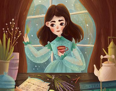 Winter postcard illustration