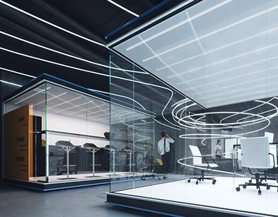 """Main hall on the office floor for """"Bulbash"""" company"""