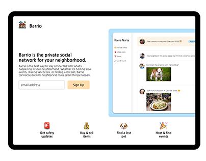 Barrio - Landing Page Design