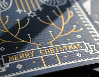 Star Dust Christmas Letterpress Postcard