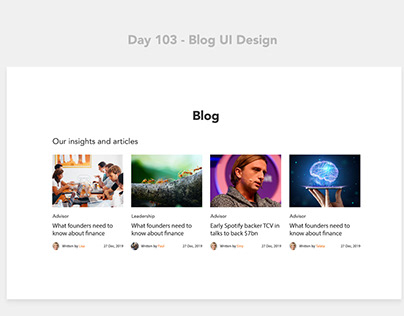 Day 103 - Blog UI Design