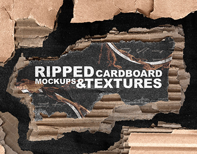 RIPPED CARDBOARD TEXTURE PACK + MOCKUPS