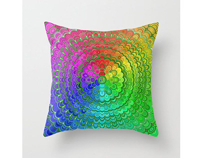 Rainbow Flower Mandala Throw Pillow
