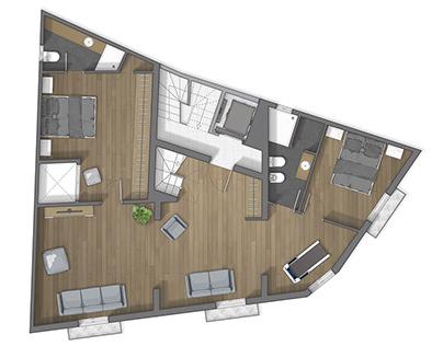 Floor plan 2D rendering in Trapani Sicilia (Italia)
