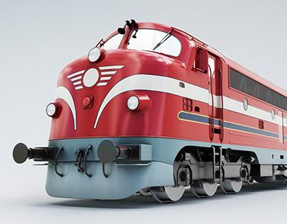 Train engine 3d stock photo