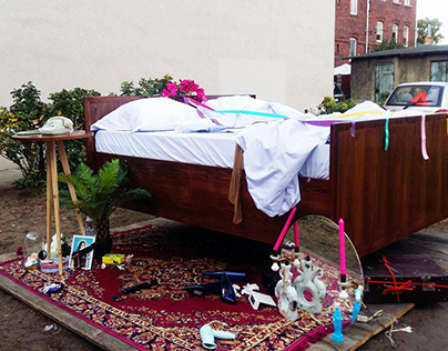 "Installation Art ""Bedtime"" in public space, NowyPort17"