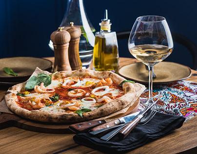 Pizza & comfort food restaurant menu photography