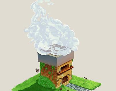 Smokey house.