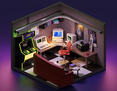 Hacker's Room Low-poly