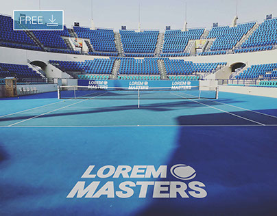 Free Tennis Court Logo Mockup PSD