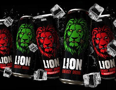 Lion energy drink package design