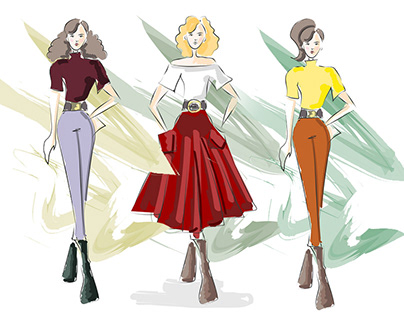 Fashion illustration vectors in a sketchy style