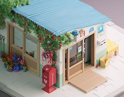 Korean Shop Low Poly 3D