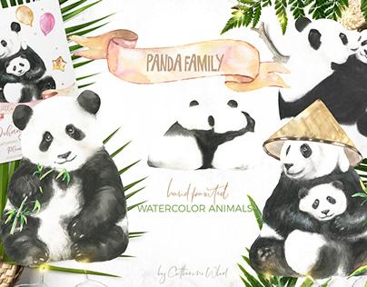 Watercolor Panda Family illustrations, cards,characters