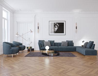 3D Realistic Neoclassic Luxury Interior Design 3D Scene