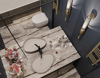 3D visualisation of the bathroom.