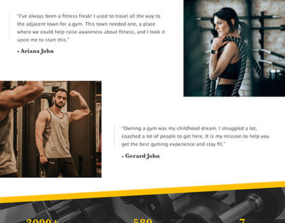 About us page for a gym