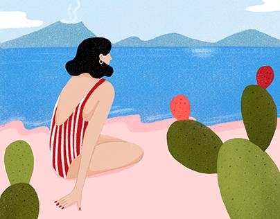 Italian holidays - series of illustrations
