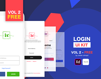 Login UI Kit - Vol 2 Free Download XD