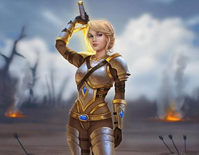 Digital Painting Warrior Fighter Girl Kayleina