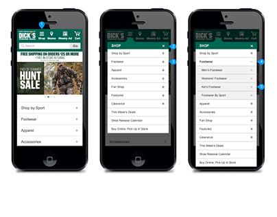 DSG Mobile Website Menu Design