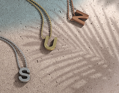 Initial Pendant Necklace Rendering