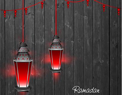 Vector Hanging lamp Ramadan typography