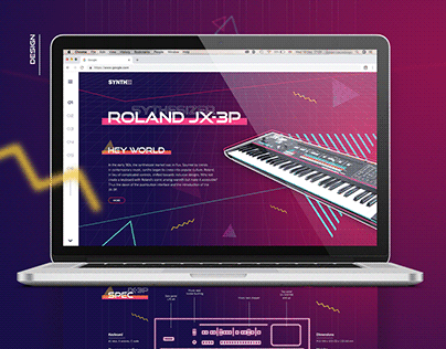 Landing page 80's Roland synth